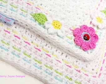 BABY CROCHET BLANKET Pattern Little Ladybug Blanket Crochet pattern Baby blanket pattern Flower blanket pattern Instant download Usa No.13A