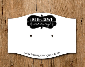 Personalized Custom Die Cut Earring Display Cards - Horizonal With Your Logo - Custom Jewelry Tags