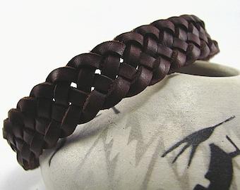 Wristband - Celtic Weave of Life Spanish Leather Cuff -- Braided Leather Bracelet