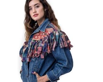Vintage Lee Denim Jacket Aztec Fringe