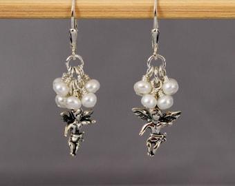 Angel Earrings, Christmas Earrings, Sterling  Silver Angel and Pearl Dangling Earrings