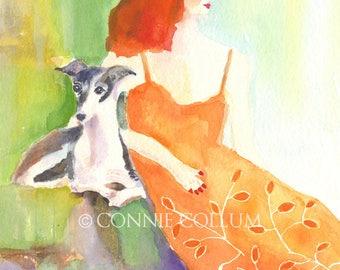 Italian Greyhound, Dog Art, Greyhound art,greyhound prints, greyhounds, Italian greyhound art, greyhound watercolor