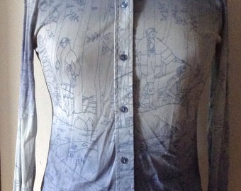 1960s whimsical Bobbie Brooks Polyester Button up shirt  art deco forest print.
