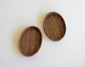 Boucles d'oreilles - pendentif paramètres - montage - la main de ArtBASE - en bois de noyer - ovale - 24 x 34 mm - (A3-W) - lot de 2
