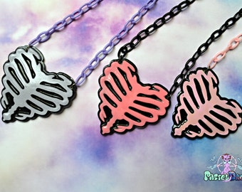 Ribcage Heart Necklace,zombie Fairy Kei, Pastel Goth, Soft Grunge,Deathrock,Punk,halloween