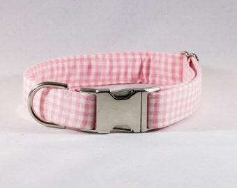 Preppy Pink Gingham Dog Collar