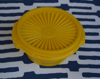 Vintage Tupperware Yellow Servalier - Container with Lid 1323 and 812