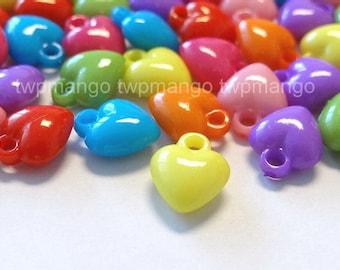 80pcs Acrylic Heart Charms Pendants...8 Colors...10x12mm...N43