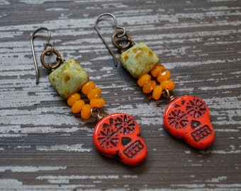 Unlisted - Skull Earrings - Red and Orange Earrings - Boho Earrings - Bright Colors - Pyramid Earrings - Bead Soup Jewelry