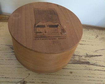 Vintage 1977 Gethsemani Abbey Wooden Trappist Cheese Round Container