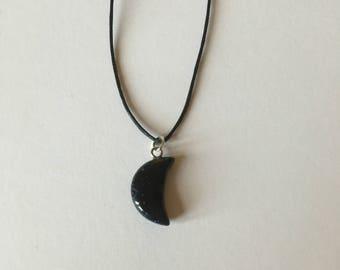 Handmade Blue Goldstone Gemstone Moon Necklace Choker
