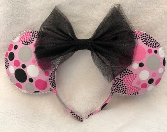 Pink Dots Mouse Ears Minnie Ears Sparkle Bow