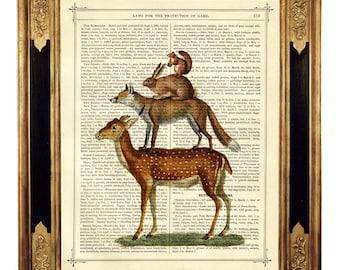 Woodland Animals Art Print Pyramid Fox Deer Rabbit Squirrel - Vintage Victorian Book Page Dictionary Art Print Steampunk Surrealism Nursery