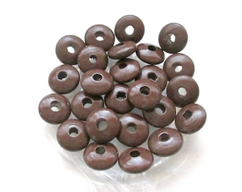 50 pacifier - chocolate flat wooden beads