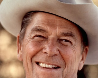 Ronald Reagan Wears a Cowboy Hat in 1976 - Great Picture! - 5X7, 8X10 or 11X14 Photo (EP-419)