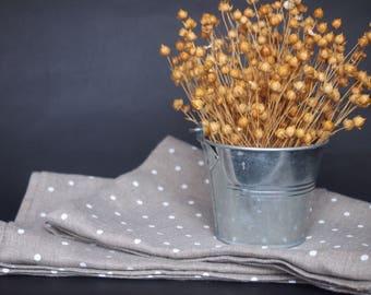 Linen Tea Towels, Grey, Natural polka dots Kitchen towels, dish towels