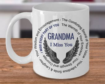 Grandma I Miss You Coffee Mug | Remembrance gift Coffee Mug | Loss of Loved One sympathy gift | Memorial Mug for Loss of Grandma