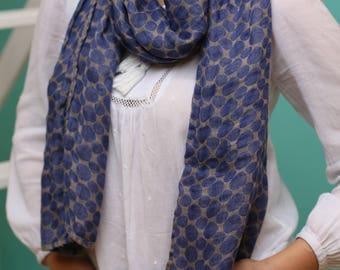 Linen Scarf blue, Natural Linen Scarve, Handmade Linen Wrap, Blue Linen Scarf, Gift For Her