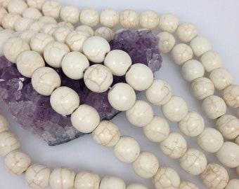 Lot of 5 strands 12mm Ivory White Howlite Turquoise Loose Spacer Beads Round 15.5 inch strand (BD5298)