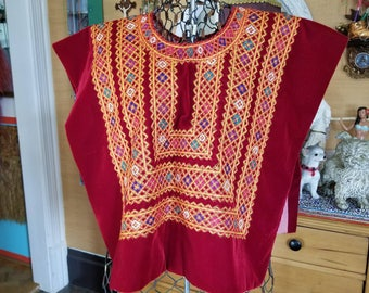 Vintage Guatemalan Huipil top jacket poncho red velvet embroidered Mexican