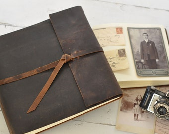 Leather Photo Album - rustic leather album w/wrap closure - Claire Magnolia