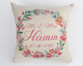 Personalized Wedding Pillow, Custom Names and Wedding Date, Wedding Pillow, Anniversary Gift, Couple Throw Pillow, Personalized Gift