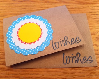 Wishes, Notecard, Polka Dot Flower, Yellow, Blue, Red, Kraft Paper, Handmade, Blank Note, Birthday, Congratulations, Thinking of You