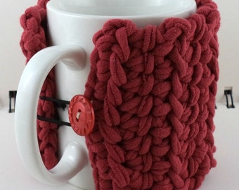 Crocheted Coffee or Ice Cream Cozy in Recycled T-Shirt Red with Shimmery Red Button (SWG-I25)