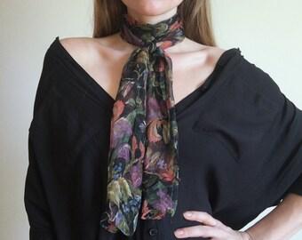 Vintage Floral Silky Scarf // Long Sheer Neck Scarf // womens hair accessory bandanna flower summer beach
