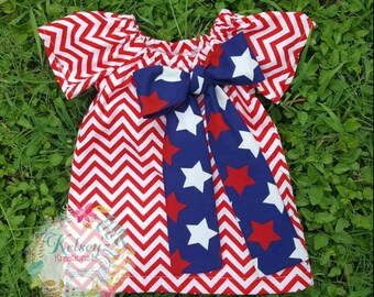 4th of July Patriotic Inspired dress Peasant Dress, Pillow case Dress