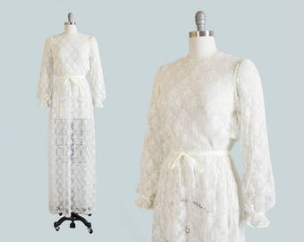Vintage 1970s Dress | 70s Sheer Lace White Maxi Dress Boho Wedding Party Festival Gown (xs/small/medium)
