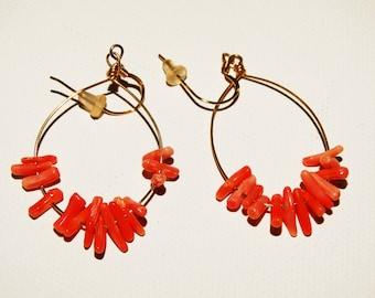 14k Gold Filled Genuine Coral Hoop Earrings.