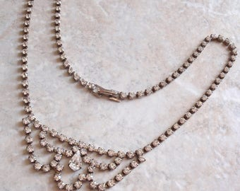 Rhinestone Bib Necklace Crystal Rhinestones Prong Set 17 Inch Pear Focal Vintage 030814PO