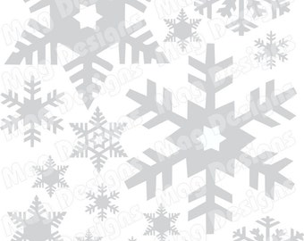 """Vinyl Silver or Gold or White Snowflakes - 20 - includes 1"""" snowflakes with a few 4-5 inch"""