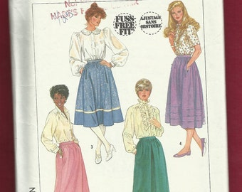 1986 Simplicity 7435 Gathered Mid Length Skirt Size 12  UNCUT