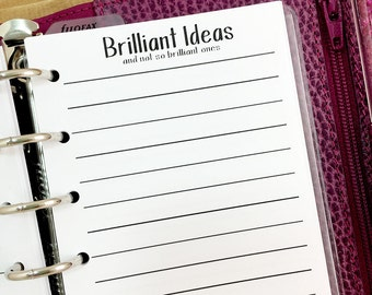 Pocket Brilliant Ideas printed planner insert - lined stationery - bright ideas - writing journal - note taking