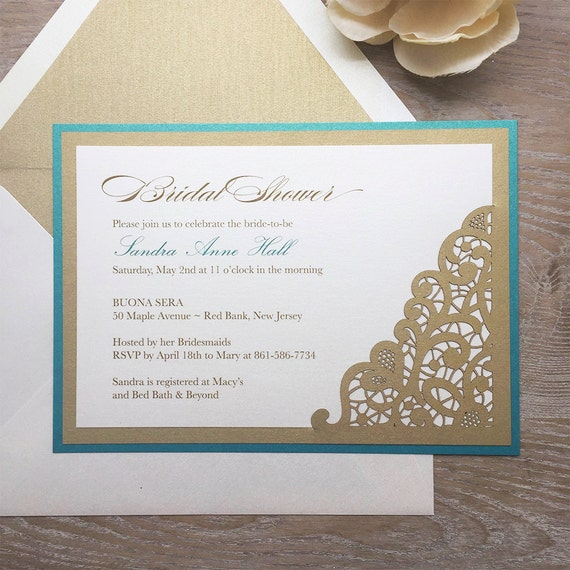 LASER CUT Bridal Shower Invitation - Teal, Gold, and Ivory Card Stock with Ivory Shimmer Envelopes and Gold Liners- Gold Laser Cut Corner