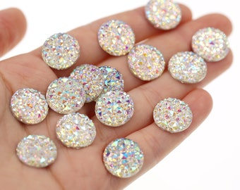 14mm Iridescent Rainbow Clear Faux Druzy Crystal Clusters Cabochons Small DIAMOND Nuggets