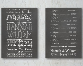 Chalkboard Wedding Order of Service