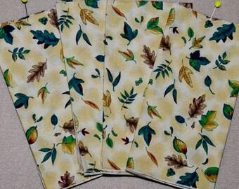 Fall Cloth Napkins - Set of 4 Fall Leaves and Acorns Cloth Napkins