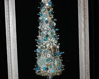 Jewelry Christmas Tree, Silver Teal and Tinsel