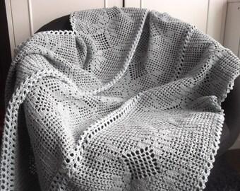 Crochet Blanket Pattern, Romantic Gray Blanket, Filet Crochet flower pattern,PDF US terms, row-by-row description with chart, throw blanket