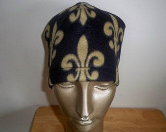 Black with Gold Fleur De Lis Fleece Hat