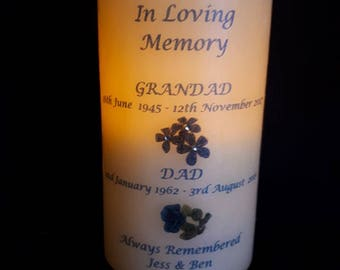Personalised In Loving memory battery LED candle