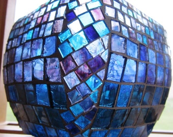 Singing the Blues--glass on glass mosaic vase, indigo blue vase, purple vase, stained glass mosaic vessel, square with rounded edges