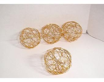 "Copper Wire Balls / Set of 4/ 1 & 1/2"" each/ Craft Supplies*"