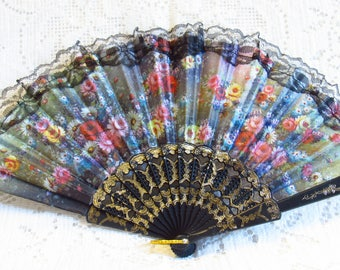 New Hand Held Grey Fan -  Nylon Printed With Lovely Flowers - For Wedding, Party, Or Home Decor -  Never Used - FREE SHIPPING.
