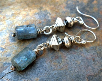 Blue Kyanite Cylinder Beads/Silver Handmade Beads/Casual Silver Dangle Earrings . Rustic Boho Tribal Southwest Style Jewelry