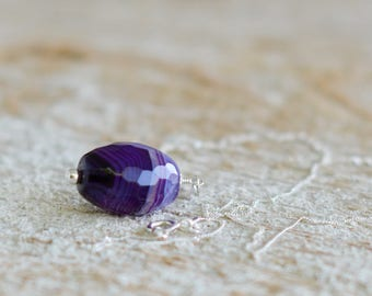 Purple pendant necklace gemstone necklace pendant jewelry agate necklace large stone pendant long silver necklace long gemstone necklace