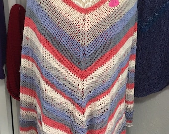 Cotton  Poncho, Hand Knit in Ted, White and Blue Yarn